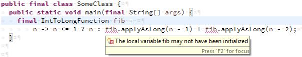 recursive fibonacci in Java 8